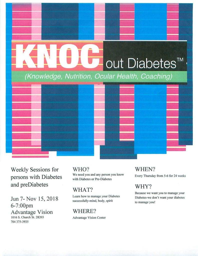 Graphic - Knoc Out Diabetes program - optometrist, Charlotte, NC